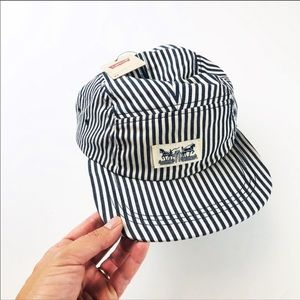 New Levi's conductor hat engineer blue stripe